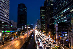City Night. Busy traffic in the city of Bangkok, Thailand stock photography