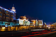 The city of the night. China's heilongjiang Province, Daqing City,Ranghulu district bus station Stock Images