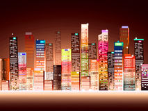 City at Night. Cityscape is Vector Illustration and image Stock Photos