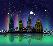 City at night colourful Royalty Free Stock Images