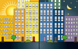 City night and day royalty free illustration