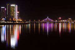 The City By Night. Every lights has its own attraction and Danang city - Vietnam has its own beauty. I travelled one and a half day from Quy Nhon city to Danang Stock Photos
