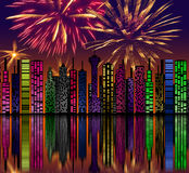 City at night. Fireworks on sky. Happy new year.  Stock Photo