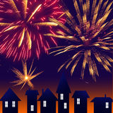 City at night. Fireworks on sky. Happy new year.  Royalty Free Stock Photography