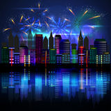 City at night with fireworks. Vector Stock Photo