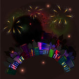 City at night with fireworks. Vector Royalty Free Stock Photos