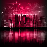 City at night with fireworks. Vector Royalty Free Stock Images