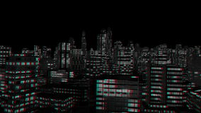 City Night Flight, Stereoscopic 3D Anaglyph, Red Cyan, stock footage. Video vector illustration