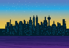 City night. With graphic illustration style Royalty Free Stock Images