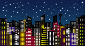 City in the night greeting card Royalty Free Stock Photography