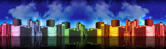 City in the Night Header with Many Colors. A landscape of a colorful rainbow city with dark blue clouds and a reflection of water under it Royalty Free Stock Image