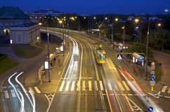 City by night, highway in Warsaw. Royalty Free Stock Photo