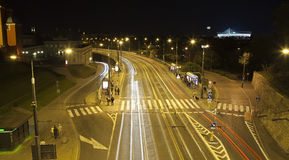 City by night, highway in Warsaw. Stock Photo
