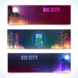 City at night horizontal banners Stock Image