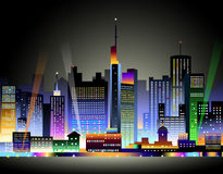 City at Night-. City at Night is a  illustration Stock Images
