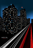 City at Night Illustration. Illustration of a colorful night scene of a city Stock Images