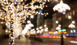 City night light blur bokeh, defocused background. stock photos