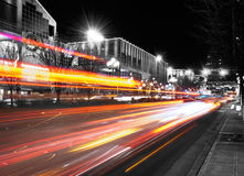 City Night Lights. On the Bellevue way Royalty Free Stock Photos