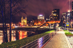 City night with lights glowing Stock Images