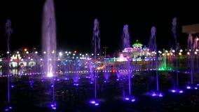 City night lights and illuminated fountains stock video