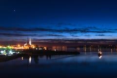 City night lights river Royalty Free Stock Image