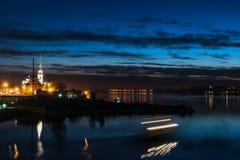 City night lights river Stock Photos