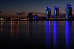 City night lights river Royalty Free Stock Photo