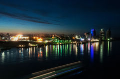City night lights river Royalty Free Stock Photos