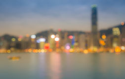 City night lights view, blurred bokeh background. Royalty Free Stock Photography