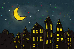 City in the night. Night in the magical city. Vector illustration. Background for kids Royalty Free Stock Photography