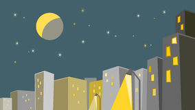 Modern city at night under moonlit sky Royalty Free Stock Photography