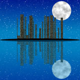 City at night, with moon, stars and reflection in water Stock Photos