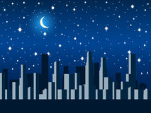 City at night with the moon and stars. Vector Royalty Free Stock Photography