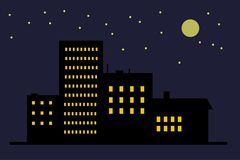 Night town icon royalty free illustration