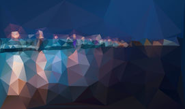 City night panorama with lamp lights vector background. City night panorama with lamp lights, bridge and reflection on river water. Creative vector background stock illustration