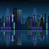City at night, panoramic scene of downtown Stock Photography
