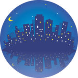 City at night. Round vector illustration with  reflaction Royalty Free Stock Photography