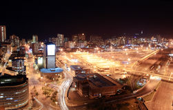 City night scene. Night scene of Durban city, South Africa from a very tall building Stock Images
