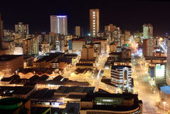 City night scene. Night scene of Durban city, South Africa from a very tall building Stock Photo