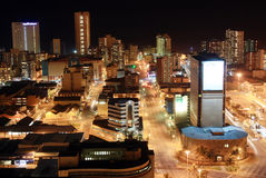 City night scene. Night scene of Durban city, South Africa from a very tall building Royalty Free Stock Photo