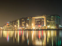 City night scene of Amsterdam with reflection Stock Images