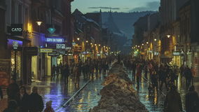 City night scene in Brasov, Romania stock video footage