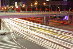 City night scene with cars motion Stock Images