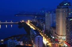 City night scene of china. Night scene of WuHan East Lake ,China Stock Photos