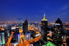 Free City Night Scene Of Suzhou SIP Stock Image - 105438581
