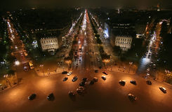 City night scene of paris st night. Looking the Paris night city from Arc de triomphe. Three straight main road  extended from a roundabout Royalty Free Stock Photography