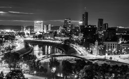 City night scene, remarkable view of lights and river. Beautiful Europe town. Black and white Royalty Free Stock Photo