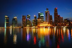 City night scene in Singapore Stock Image