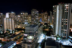 City night scene of Waikiki, Honolulu. Night city scene of Waikiki, Honolulu, Hawaii Stock Photo