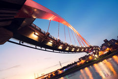 City night scenery with beautiful bridge Royalty Free Stock Photos